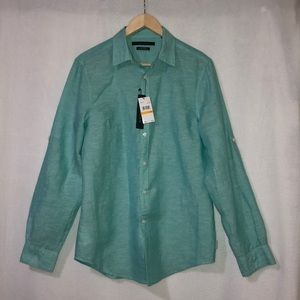 Perry Ellis blue men's long sleeves dressy shirt